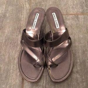 Manolo Blahnik Metallic Pewter Sandals